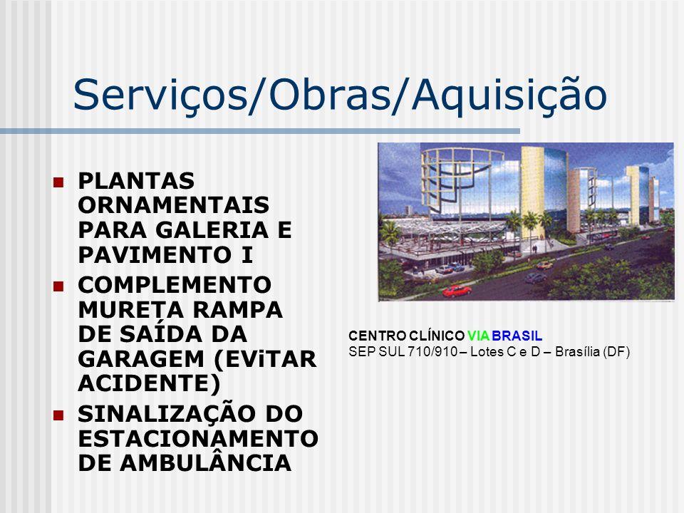 Serviços/Obras/Aquisição PLANTAS ORNAMENTAIS PARA GALERIA E PAVIMENTO I COMPLEMENTO MURETA RAMPA DE SAÍDA DA GARAGEM (EViTAR ACIDENTE) SINALIZAÇÃO DO