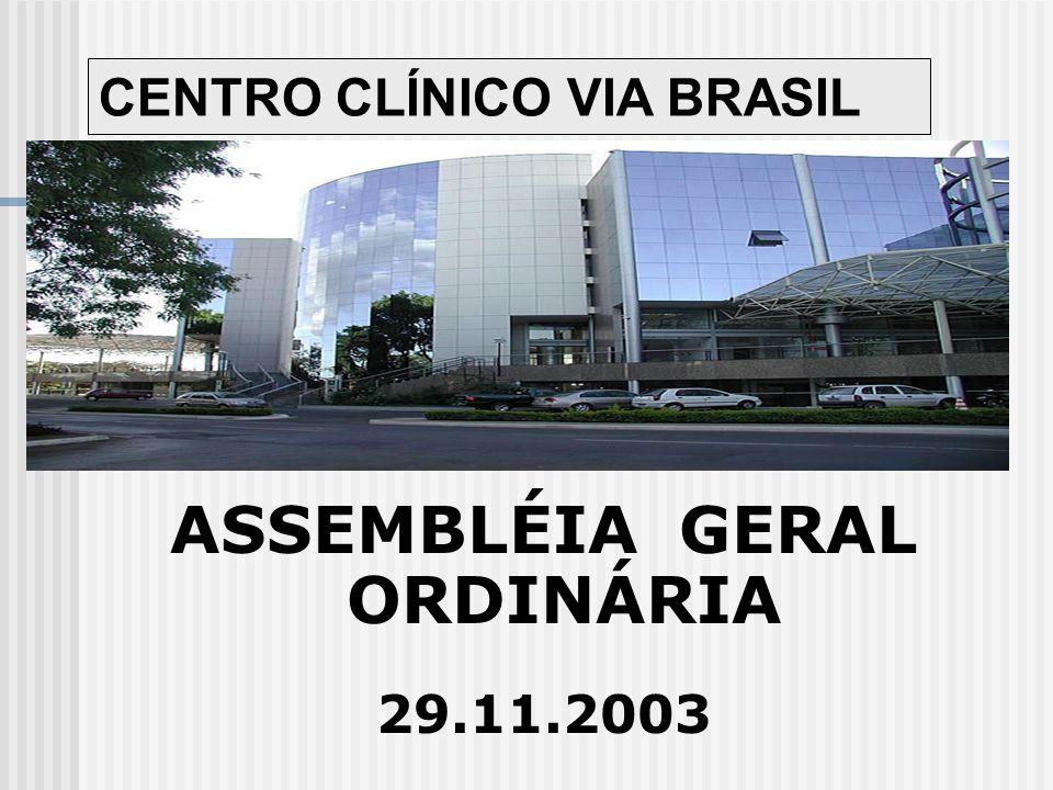 Ordem do Dia 1.LEITURA DA ATA DA ASSEMBLÉIA ANTERIOR; 2.RELATÓRIO DA ADMINISTRAÇÃO; 3.APROVAÇÃO DAS CONTAS PERÍODO NOVEMBRO DE 2002 A NOVEMBRO DE 2003; 4.ORÇAMENTO PARA 2003/4; COM MANUTENÇÃO DO MESMO ORÇAMENTO; 5.ELEIÇÃO PARA SÍNDICO E SUBSÍNDICO; 6.ELEIÇÃO DO CONSELHO FISCAL COMPOSTO POR TRÊS MEMBROS EFETIVOS E SUPLENTES; 7.ELEIÇÃO DO CONSELHO CONSULTIVO COMPOSTO POR TRÊS MEMBROS EFETIVOS E SUPLENTES; 8.DEMAIS ASSUNTOS DE INTERESSE COLETIVO.