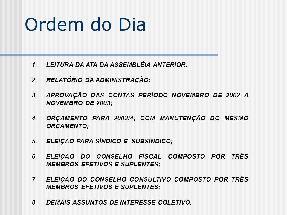 Ordem do Dia 1.LEITURA DA ATA DA ASSEMBLÉIA ANTERIOR; 2.RELATÓRIO DA ADMINISTRAÇÃO; 3.APROVAÇÃO DAS CONTAS PERÍODO NOVEMBRO DE 2002 A NOVEMBRO DE 2003