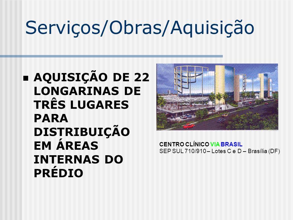 Serviços/Obras/Aquisição AQUISIÇÃO DE 22 LONGARINAS DE TRÊS LUGARES PARA DISTRIBUIÇÃO EM ÁREAS INTERNAS DO PRÉDIO CENTRO CLÍNICO VIA BRASIL SEP SUL 71