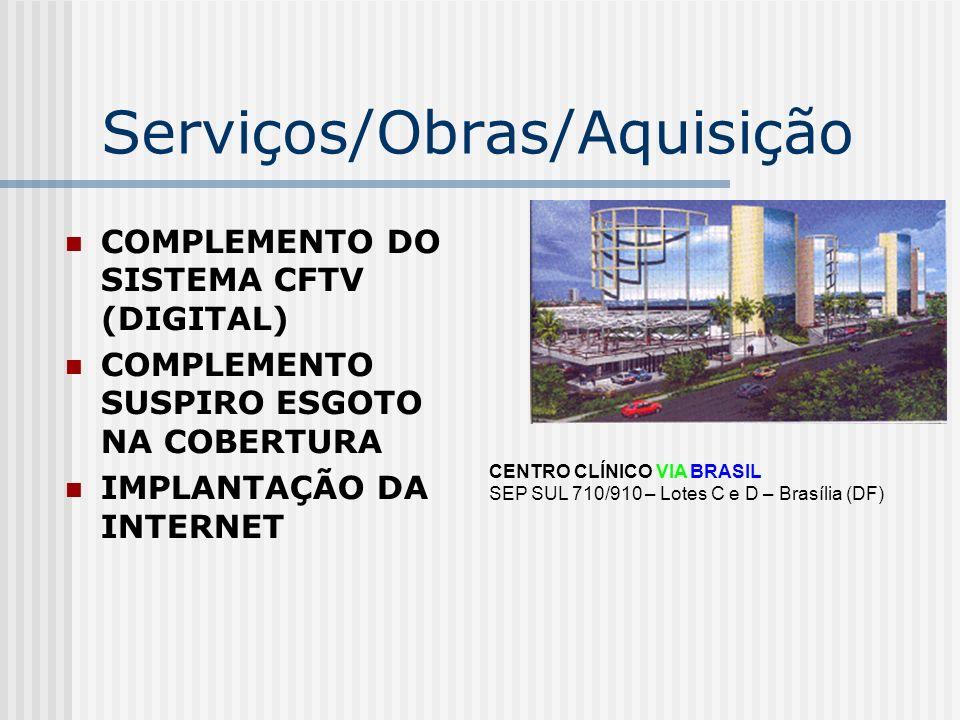 Serviços/Obras/Aquisição COMPLEMENTO DO SISTEMA CFTV (DIGITAL) COMPLEMENTO SUSPIRO ESGOTO NA COBERTURA IMPLANTAÇÃO DA INTERNET CENTRO CLÍNICO VIA BRAS