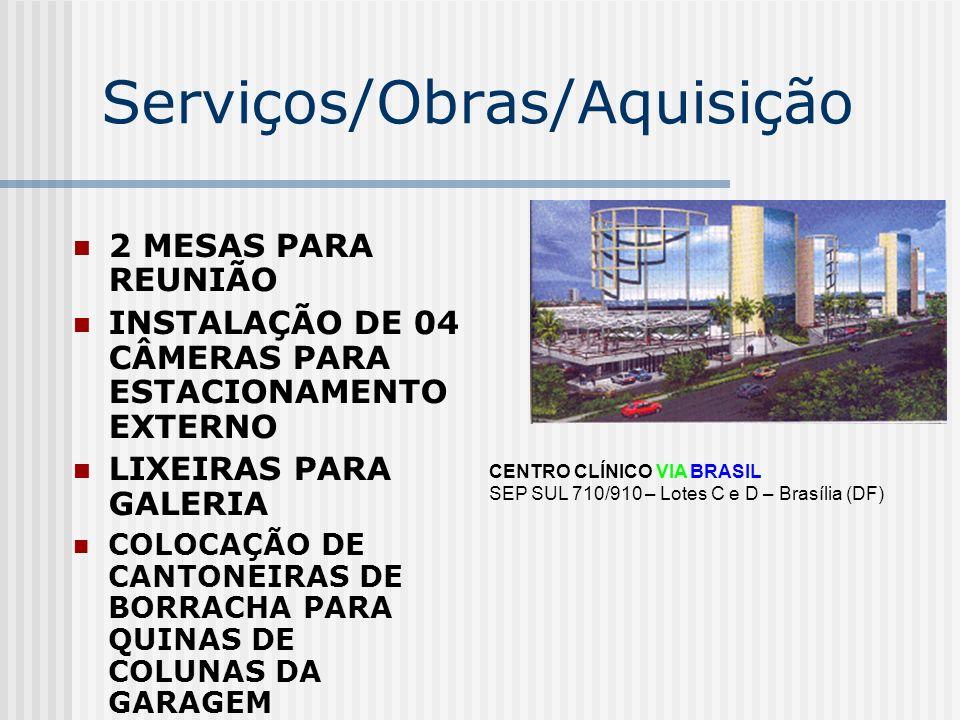 Serviços/Obras/Aquisição 2 MESAS PARA REUNIÃO INSTALAÇÃO DE 04 CÂMERAS PARA ESTACIONAMENTO EXTERNO LIXEIRAS PARA GALERIA COLOCAÇÃO DE CANTONEIRAS DE B