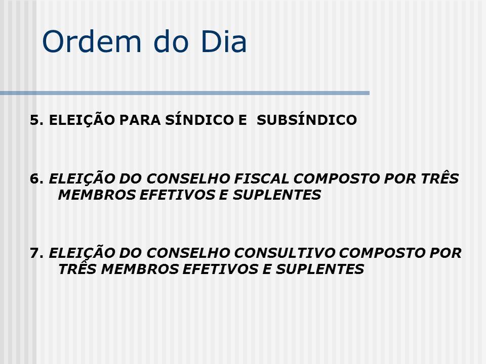 Ordem do Dia 5. ELEIÇÃO PARA SÍNDICO E SUBSÍNDICO 6. ELEIÇÃO DO CONSELHO FISCAL COMPOSTO POR TRÊS MEMBROS EFETIVOS E SUPLENTES 7. ELEIÇÃO DO CONSELHO