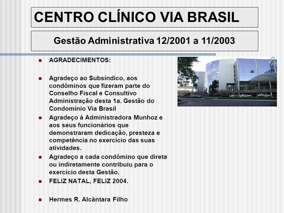 CENTRO CLÍNICO VIA BRASIL Gestão Administrativa 12/2001 a 11/2003 AGRADECIMENTOS: Agradeço ao Subsíndico, aos condôminos que fizeram parte do Conselho