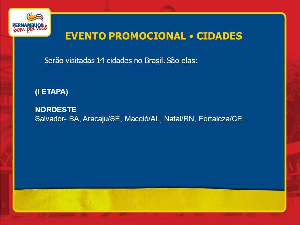 Serão visitadas 14 cidades no Brasil. São elas: (I ETAPA) NORDESTE Salvador- BA, Aracaju/SE, Maceió/AL, Natal/RN, Fortaleza/CE EVENTO PROMOCIONAL CIDA