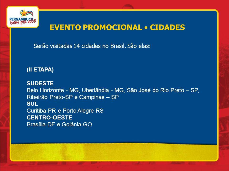 Serão visitadas 14 cidades no Brasil. São elas: (II ETAPA) SUDESTE Belo Horizonte - MG, Uberlândia - MG, São José do Rio Preto – SP, Ribeirão Preto-SP