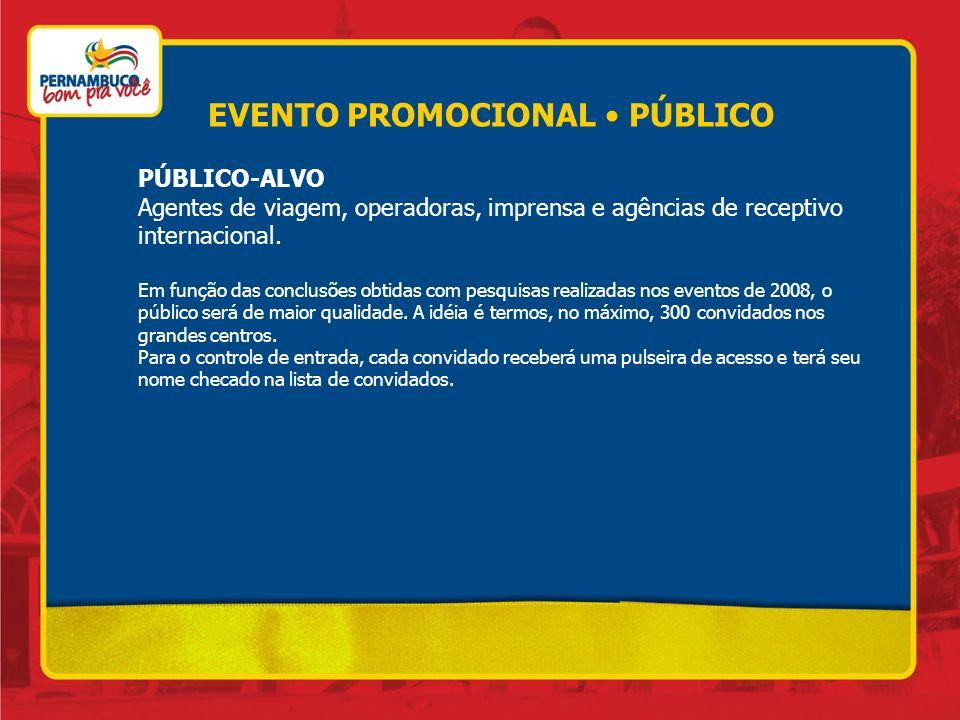 EVENTO PROMOCIONAL PÚBLICO PÚBLICO-ALVO Agentes de viagem, operadoras, imprensa e agências de receptivo internacional. Em função das conclusões obtida
