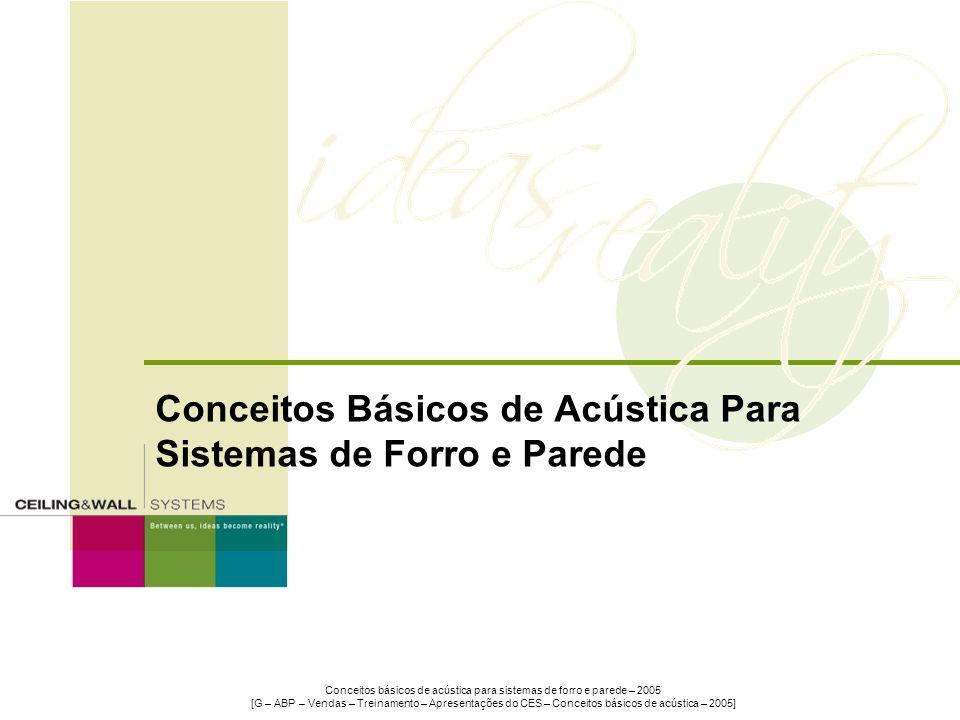 Conceitos Básicos de Acústica Para Sistemas de Forro e Parede Conceitos básicos de acústica para sistemas de forro e parede – 2005 [G – ABP – Vendas –