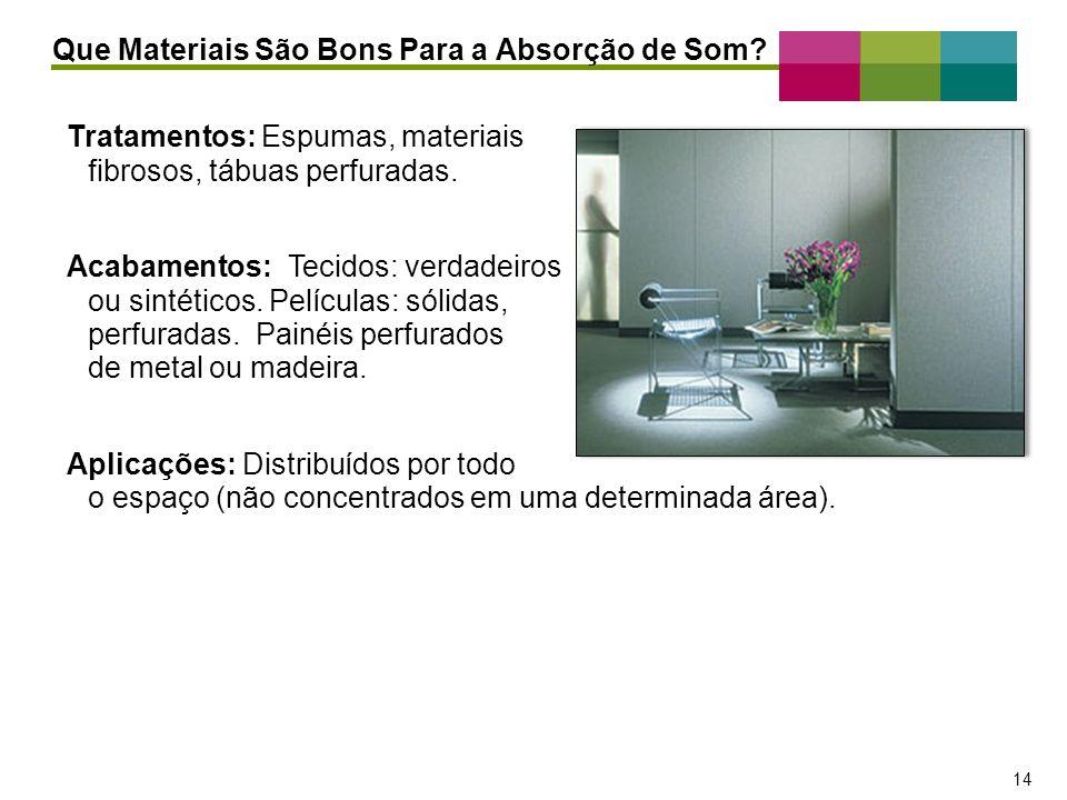 – 14 – 14 Tratamentos: Espumas, materiais fibrosos, tábuas perfuradas. Acabamentos: Tecidos: verdadeiros ou sintéticos. Películas: sólidas, perfuradas