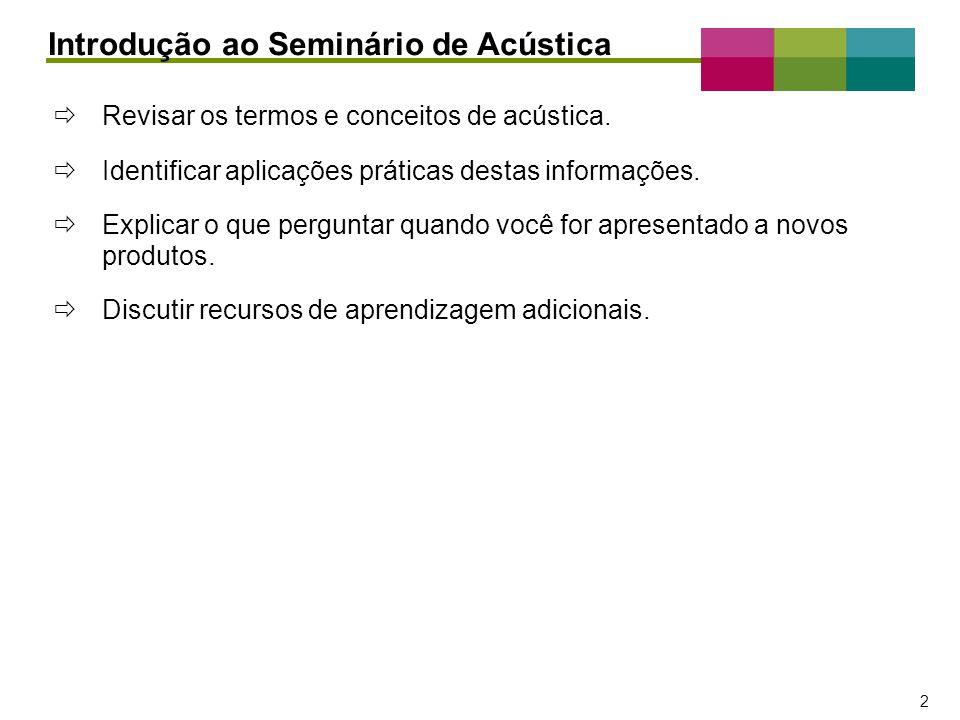 – 2 – 2 Revisar os termos e conceitos de acústica. Identificar aplicações práticas destas informações. Explicar o que perguntar quando você for aprese