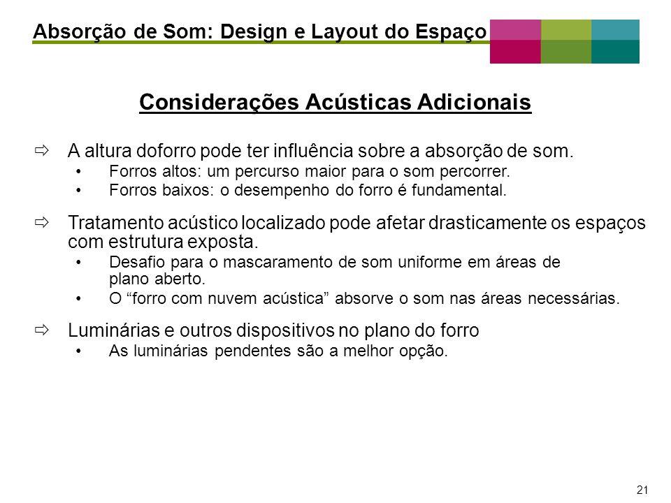 – 21 – 21 Considerações Acústicas Adicionais Absorção de Som: Design e Layout do Espaço A altura doforro pode ter influência sobre a absorção de som.