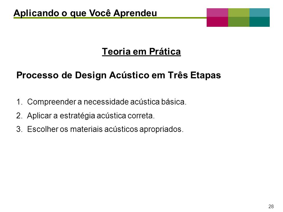 – 28 – 28 Teoria em Prática Processo de Design Acústico em Três Etapas 1. Compreender a necessidade acústica básica. 2. Aplicar a estratégia acústica