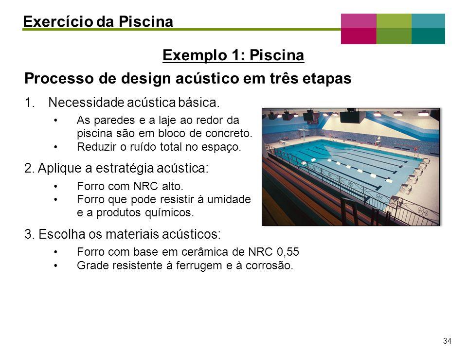 – 34 – 34 Processo de design acústico em três etapas 1.Necessidade acústica básica. As paredes e a laje ao redor da piscina são em bloco de concreto.