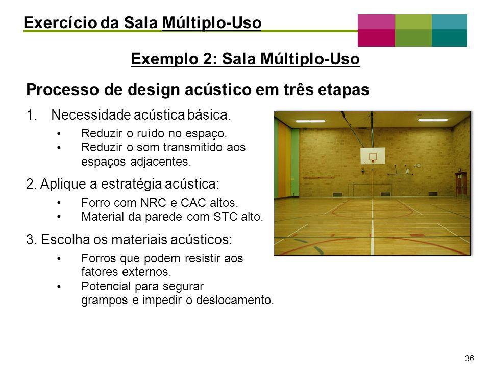 – 36 – 36 Processo de design acústico em três etapas 1.Necessidade acústica básica. Reduzir o ruído no espaço. Reduzir o som transmitido aos espaços a