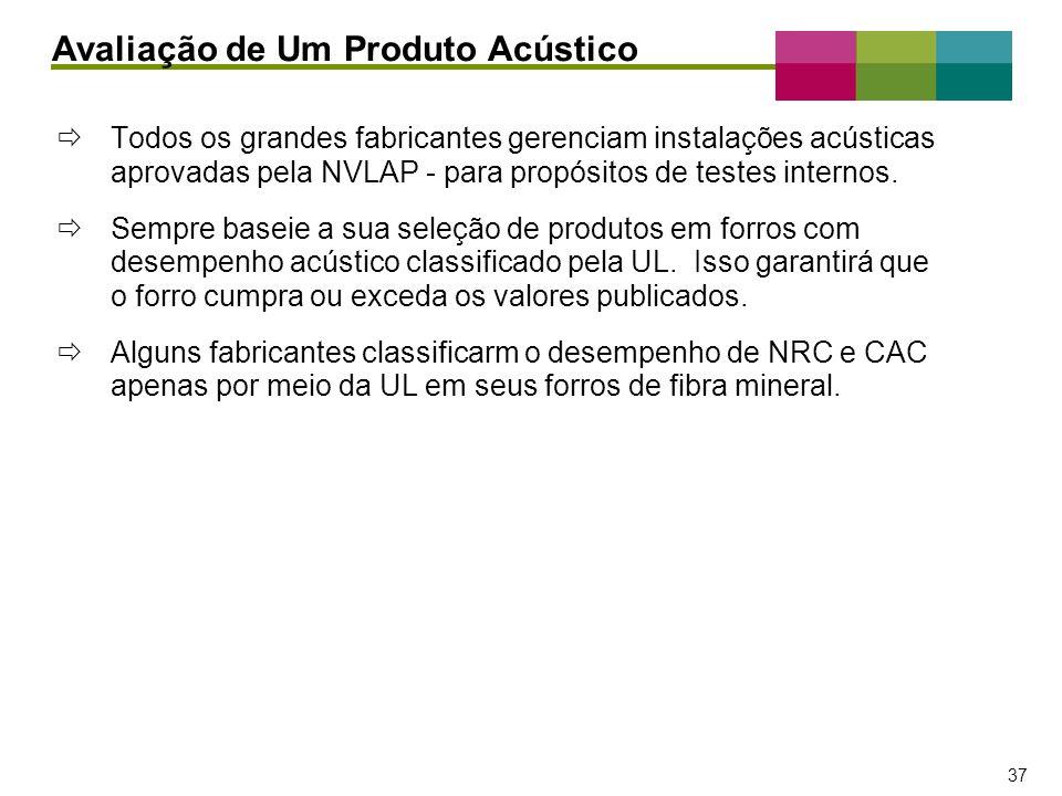 – 37 – 37 Todos os grandes fabricantes gerenciam instalações acústicas aprovadas pela NVLAP - para propósitos de testes internos. Sempre baseie a sua