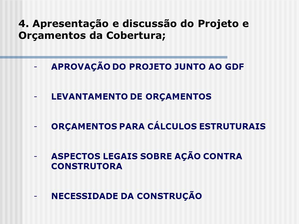 -APROVAÇÃO DO PROJETO JUNTO AO GDF -LEVANTAMENTO DE ORÇAMENTOS -ORÇAMENTOS PARA CÁLCULOS ESTRUTURAIS -ASPECTOS LEGAIS SOBRE AÇÃO CONTRA CONSTRUTORA -N