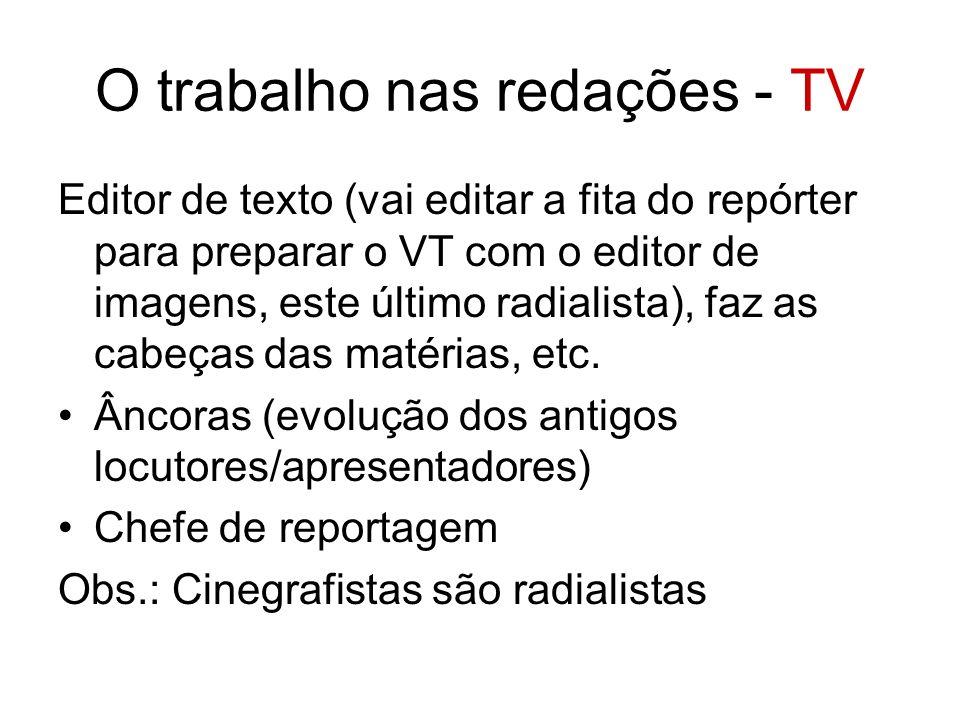O trabalho nas redações - TV Editor de texto (vai editar a fita do repórter para preparar o VT com o editor de imagens, este último radialista), faz a