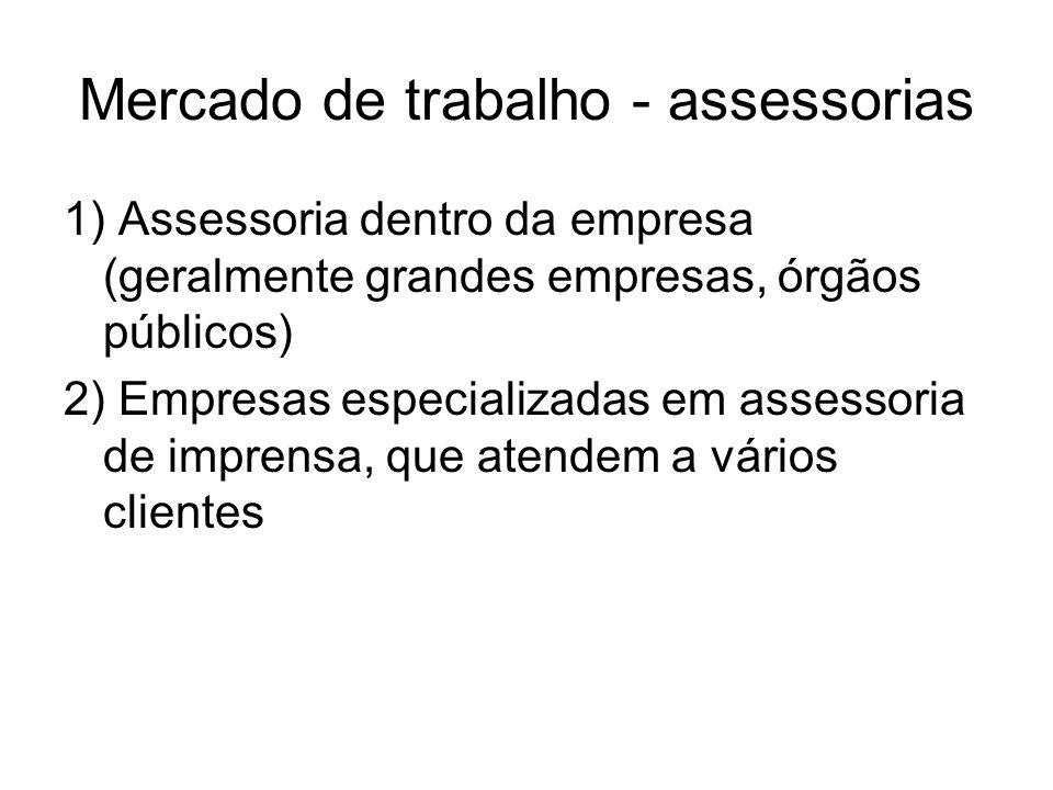 Mercado de trabalho - assessorias 1) Assessoria dentro da empresa (geralmente grandes empresas, órgãos públicos) 2) Empresas especializadas em assesso