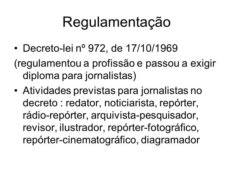 Regulamentação Decreto-lei nº 972, de 17/10/1969 (regulamentou a profissão e passou a exigir diploma para jornalistas) Atividades previstas para jorna