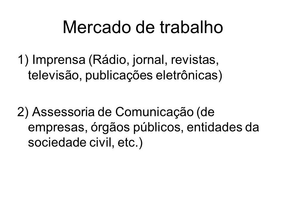 Mercado de trabalho 1) Imprensa (Rádio, jornal, revistas, televisão, publicações eletrônicas) 2) Assessoria de Comunicação (de empresas, órgãos públicos, entidades da sociedade civil, etc.)