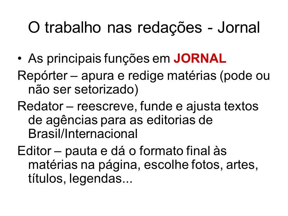 O trabalho nas redações - Jornal As principais funções em JORNAL Repórter – apura e redige matérias (pode ou não ser setorizado) Redator – reescreve,