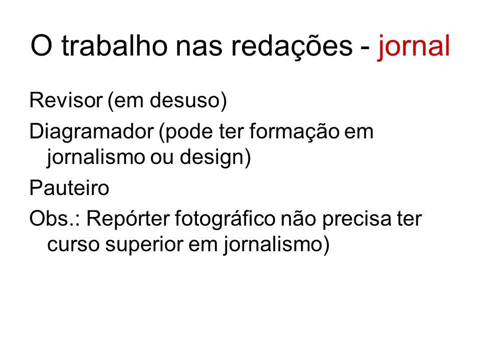 O trabalho nas redações - jornal Revisor (em desuso) Diagramador (pode ter formação em jornalismo ou design) Pauteiro Obs.: Repórter fotográfico não precisa ter curso superior em jornalismo)