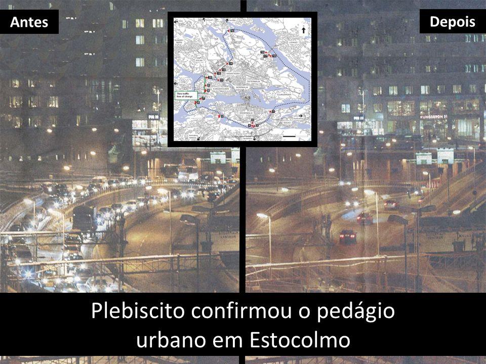 Plebiscito confirmou o pedágio urbano em Estocolmo Antes Depois