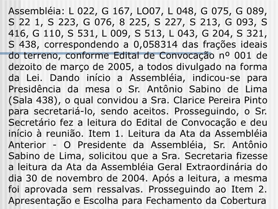 Assembléia: L 022, G 167, LO07, L 048, G 075, G 089, S 22 1, S 223, G 076, 8 225, S 227, S 213, G 093, S 416, G 110, S 531, L 009, S 513, L 043, G 204
