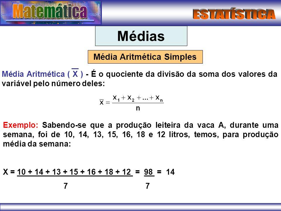Médias Média Aritmética Simples Média Aritmética ( X ) - É o quociente da divisão da soma dos valores da variável pelo número deles: Exemplo: Sabendo-