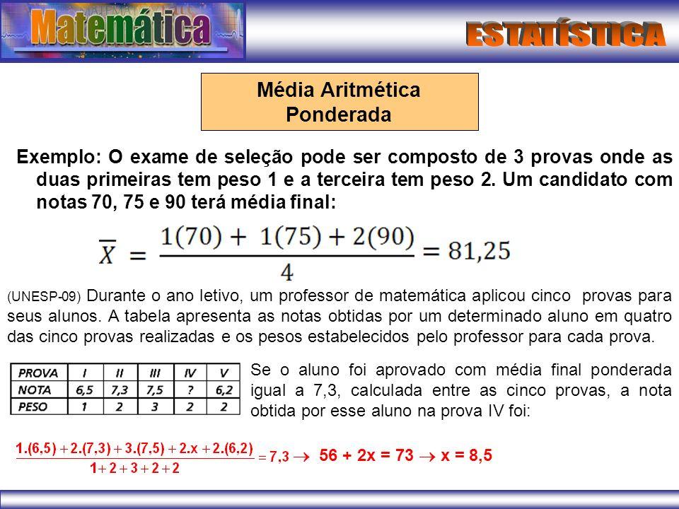 Exemplo: O exame de seleção pode ser composto de 3 provas onde as duas primeiras tem peso 1 e a terceira tem peso 2. Um candidato com notas 70, 75 e 9