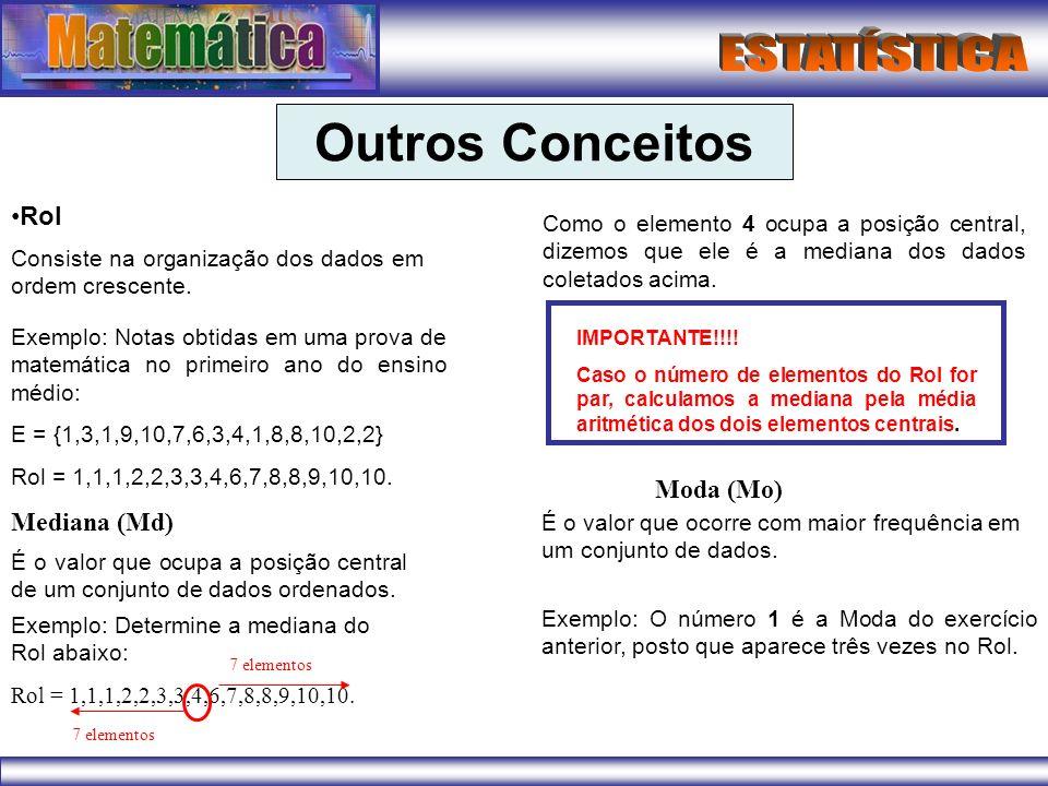 Outros Conceitos Rol Consiste na organização dos dados em ordem crescente. Exemplo: Notas obtidas em uma prova de matemática no primeiro ano do ensino