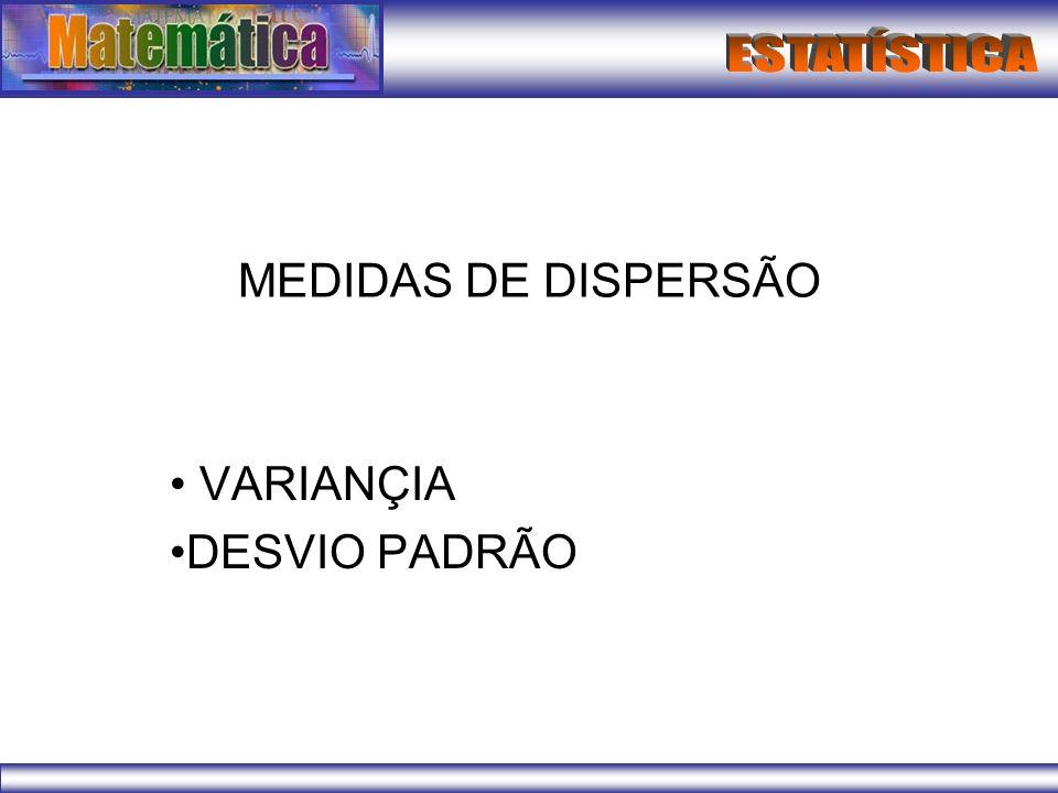 MEDIDAS DE DISPERSÃO VARIANÇIA DESVIO PADRÃO
