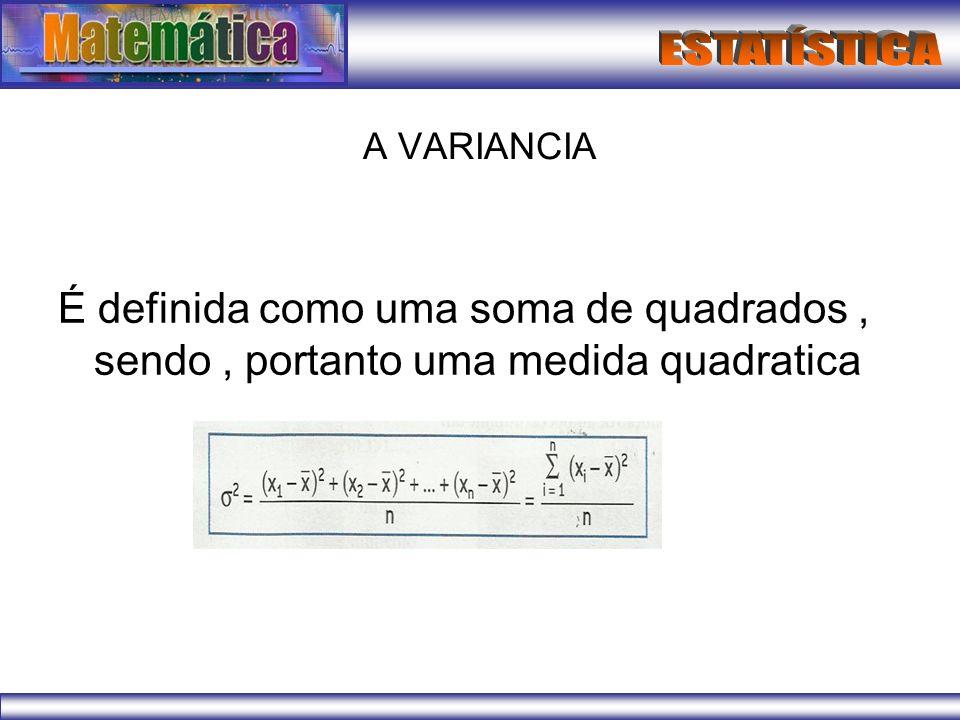 A VARIANCIA É definida como uma soma de quadrados, sendo, portanto uma medida quadratica
