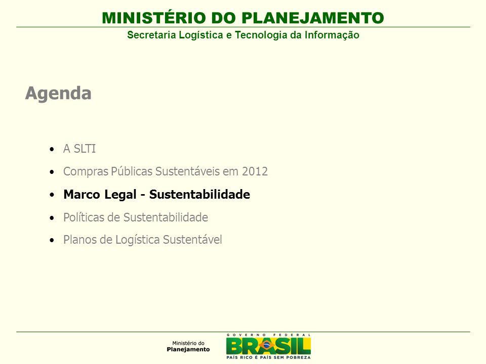 MINISTÉRIO DO PLANEJAMENTO Agenda A SLTI Compras Públicas Sustentáveis em 2012 Marco Legal - Sustentabilidade Políticas de Sustentabilidade Planos de