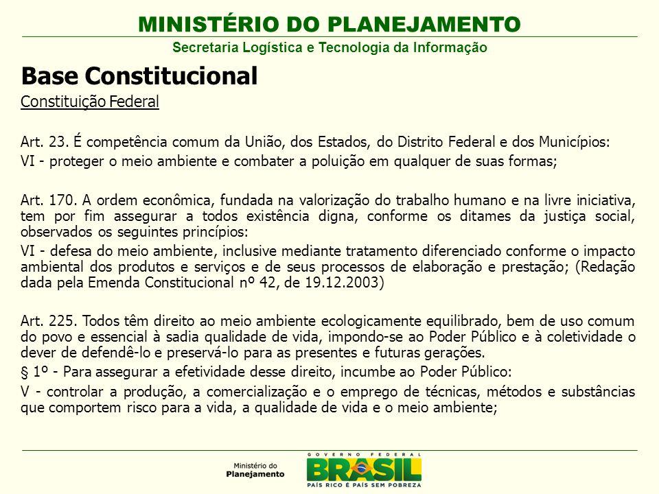 MINISTÉRIO DO PLANEJAMENTO Base Constitucional Constituição Federal Art. 23. É competência comum da União, dos Estados, do Distrito Federal e dos Muni