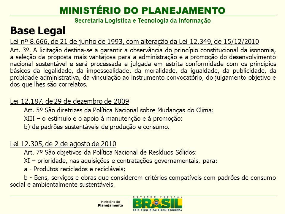 MINISTÉRIO DO PLANEJAMENTO Base Legal Lei nº 8.666, de 21 de junho de 1993, com alteração da Lei 12.349, de 15/12/2010 Art. 3º. A licitação destina-se