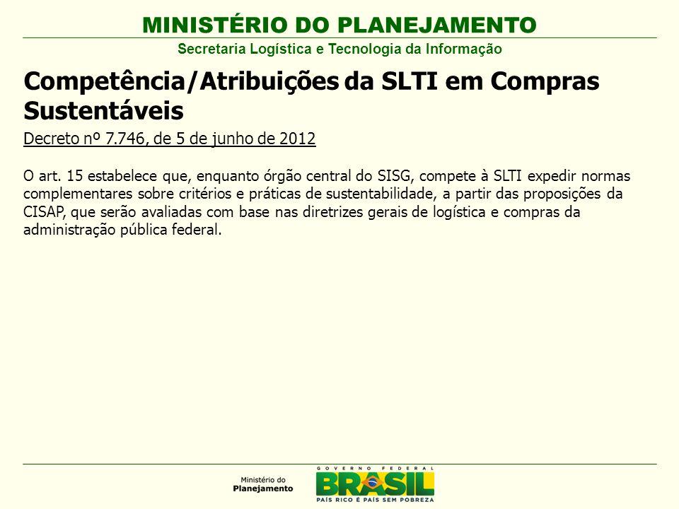 MINISTÉRIO DO PLANEJAMENTO Competência/Atribuições da SLTI em Compras Sustentáveis Decreto nº 7.746, de 5 de junho de 2012 O art. 15 estabelece que, e
