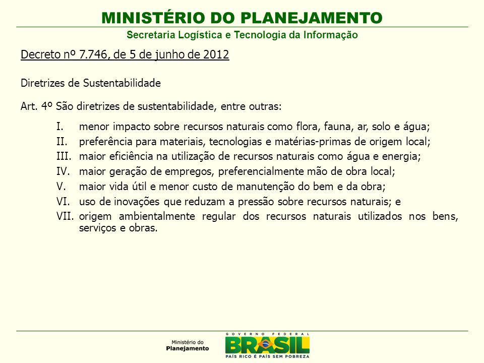 MINISTÉRIO DO PLANEJAMENTO Decreto nº 7.746, de 5 de junho de 2012 Diretrizes de Sustentabilidade Art. 4º São diretrizes de sustentabilidade, entre ou