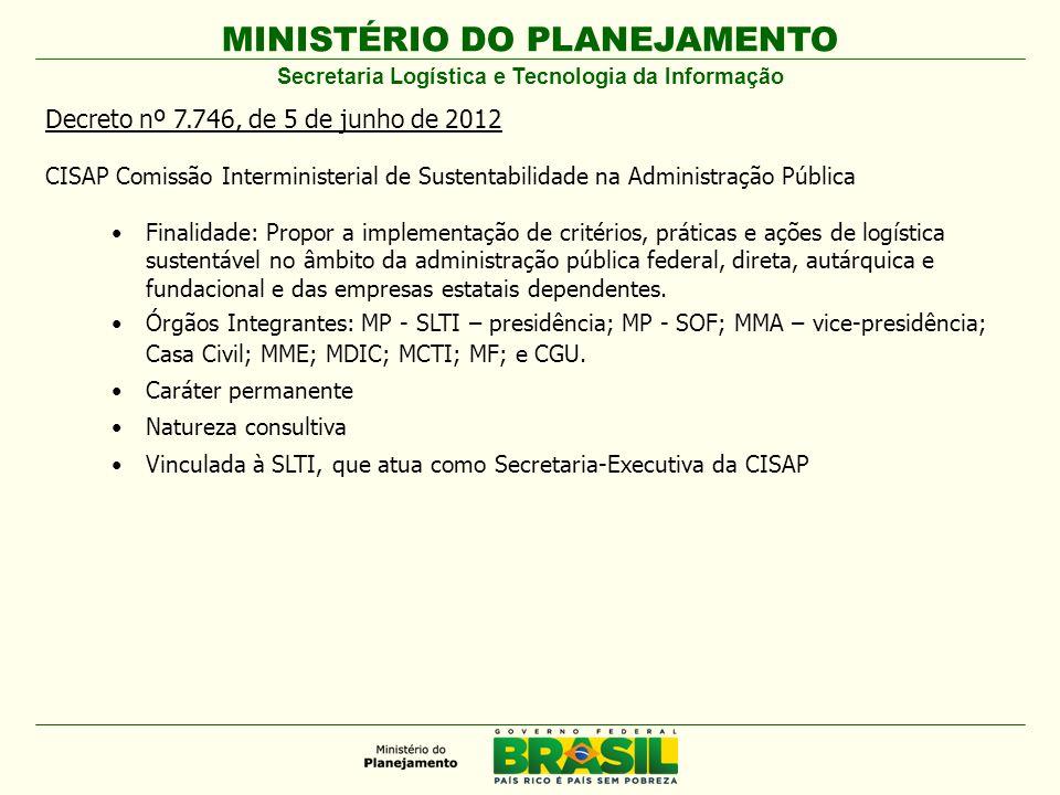 MINISTÉRIO DO PLANEJAMENTO Decreto nº 7.746, de 5 de junho de 2012 CISAP Comissão Interministerial de Sustentabilidade na Administração Pública Finali