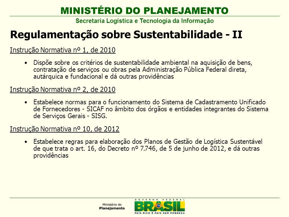 MINISTÉRIO DO PLANEJAMENTO Regulamentação sobre Sustentabilidade - II Instrução Normativa nº 1, de 2010 Dispõe sobre os critérios de sustentabilidade