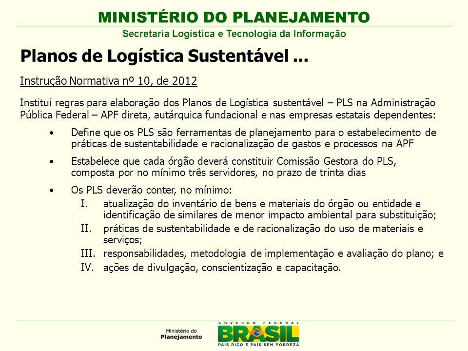 MINISTÉRIO DO PLANEJAMENTO Planos de Logística Sustentável... Instrução Normativa nº 10, de 2012 Institui regras para elaboração dos Planos de Logísti