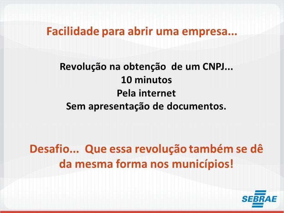 Facilidade para abrir uma empresa... Revolução na obtenção de um CNPJ... 10 minutos Pela internet Sem apresentação de documentos. Desafio... Que essa