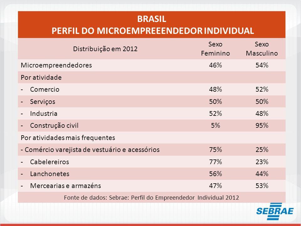 BRASIL PERFIL DO MICROEMPREEENDEDOR INDIVIDUAL Distribuição em 2012 Sexo Feminino Sexo Masculino Microempreendedores46%54% Por atividade -Comercio48%5
