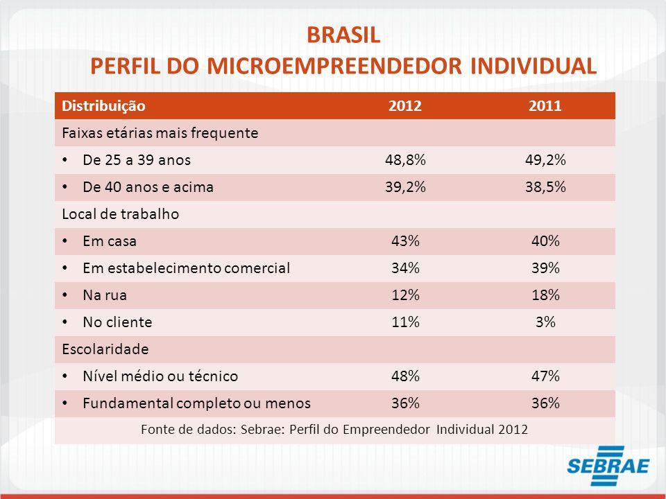BRASIL PERFIL DO MICROEMPREENDEDOR INDIVIDUAL Distribuição20122011 Faixas etárias mais frequente De 25 a 39 anos48,8%49,2% De 40 anos e acima39,2%38,5