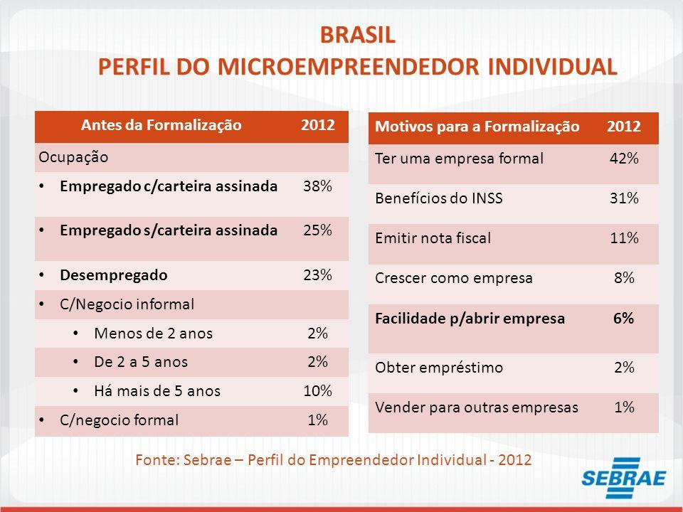 BRASIL PERFIL DO MICROEMPREENDEDOR INDIVIDUAL Antes da Formalização2012 Ocupação Empregado c/carteira assinada38% Empregado s/carteira assinada25% Des