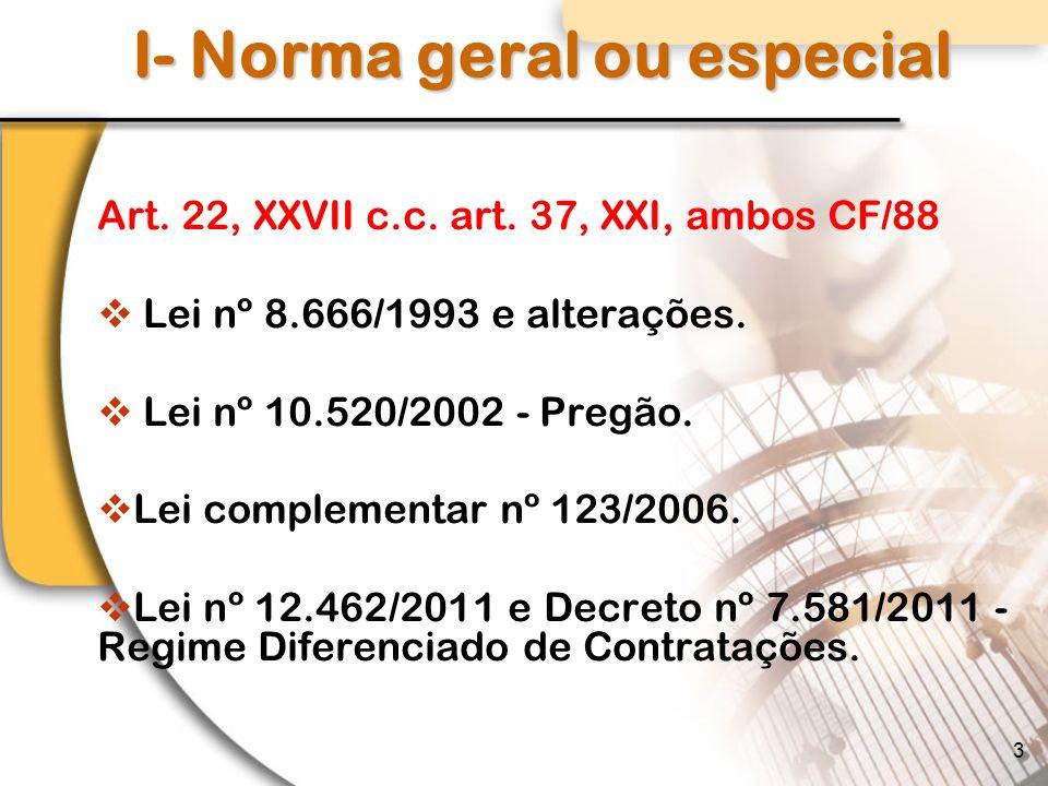 I- Norma geral ou especial Art.22, XXVII c.c. art.