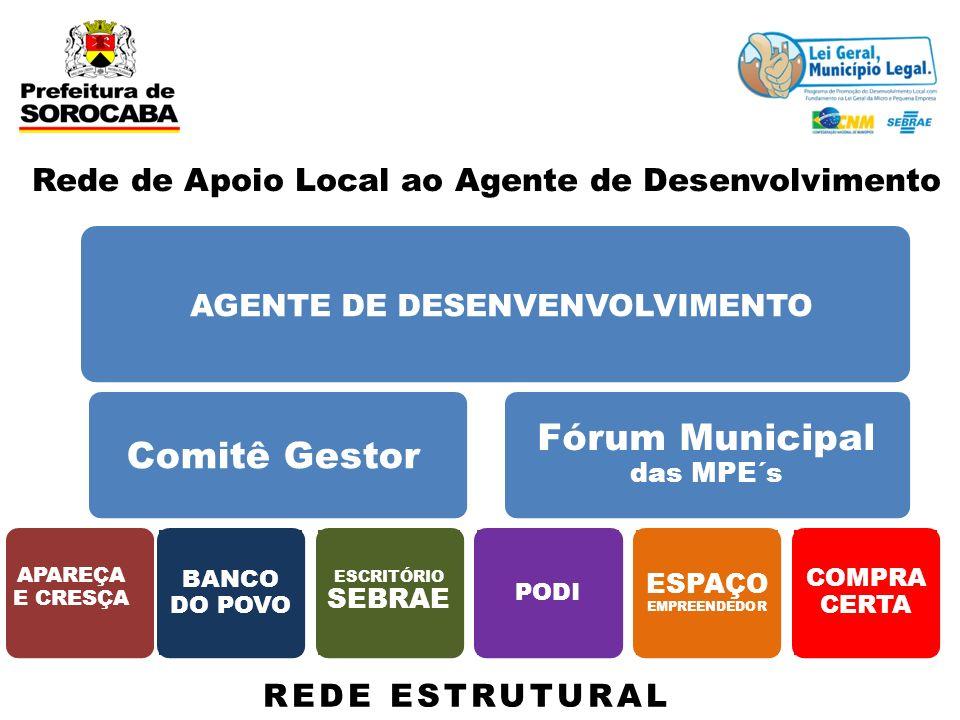 Rede de Apoio Local ao Agente de Desenvolvimento AGENTE DE DESENVENVOLVIMENTO Comitê Gestor Fórum Municipal das MPE´s APAREÇA E CRESÇA BANCO DO POVO E
