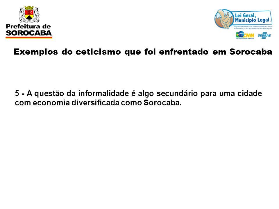 5 - A questão da informalidade é algo secundário para uma cidade com economia diversificada como Sorocaba. Exemplos do ceticismo que foi enfrentado em
