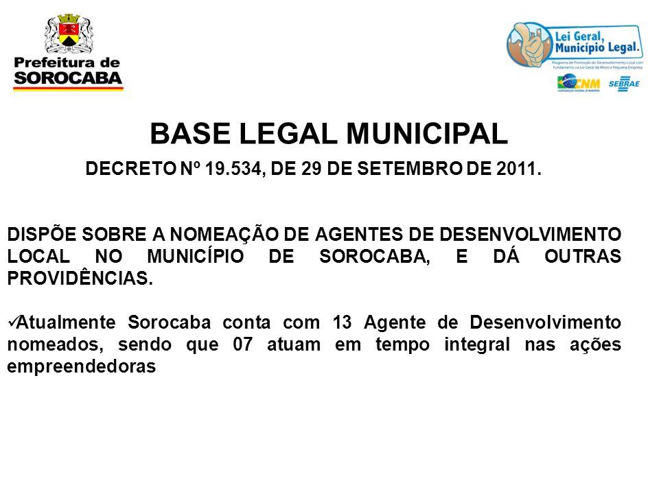 BASE LEGAL MUNICIPAL DECRETO Nº 19.534, DE 29 DE SETEMBRO DE 2011. DISPÕE SOBRE A NOMEAÇÃO DE AGENTES DE DESENVOLVIMENTO LOCAL NO MUNICÍPIO DE SOROCAB