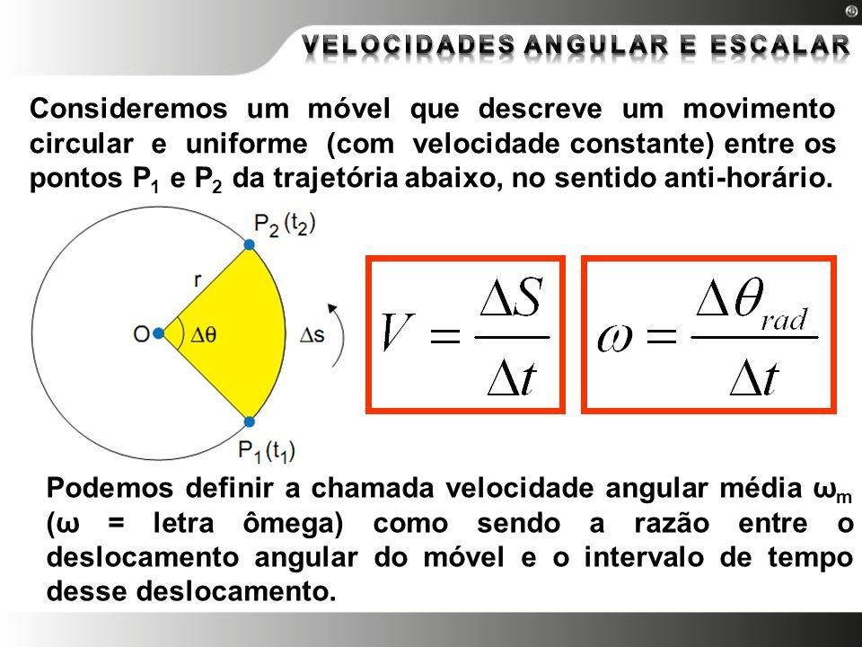 Consideremos um móvel que descreve um movimento circular e uniforme (com velocidade constante) entre os pontos P 1 e P 2 da trajetória abaixo, no sent